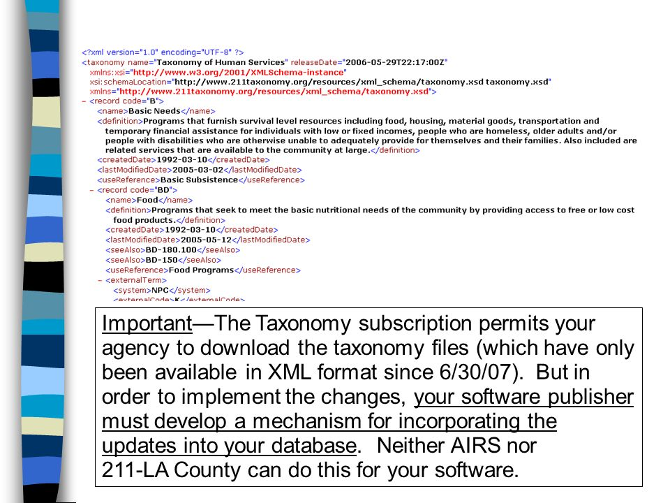 ImportantThe Taxonomy subscription permits your agency to download the taxonomy files (which have only been available in XML format since 6/30/07).
