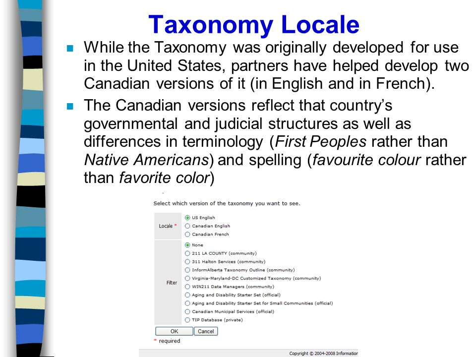 Taxonomy Locale n While the Taxonomy was originally developed for use in the United States, partners have helped develop two Canadian versions of it (in English and in French).