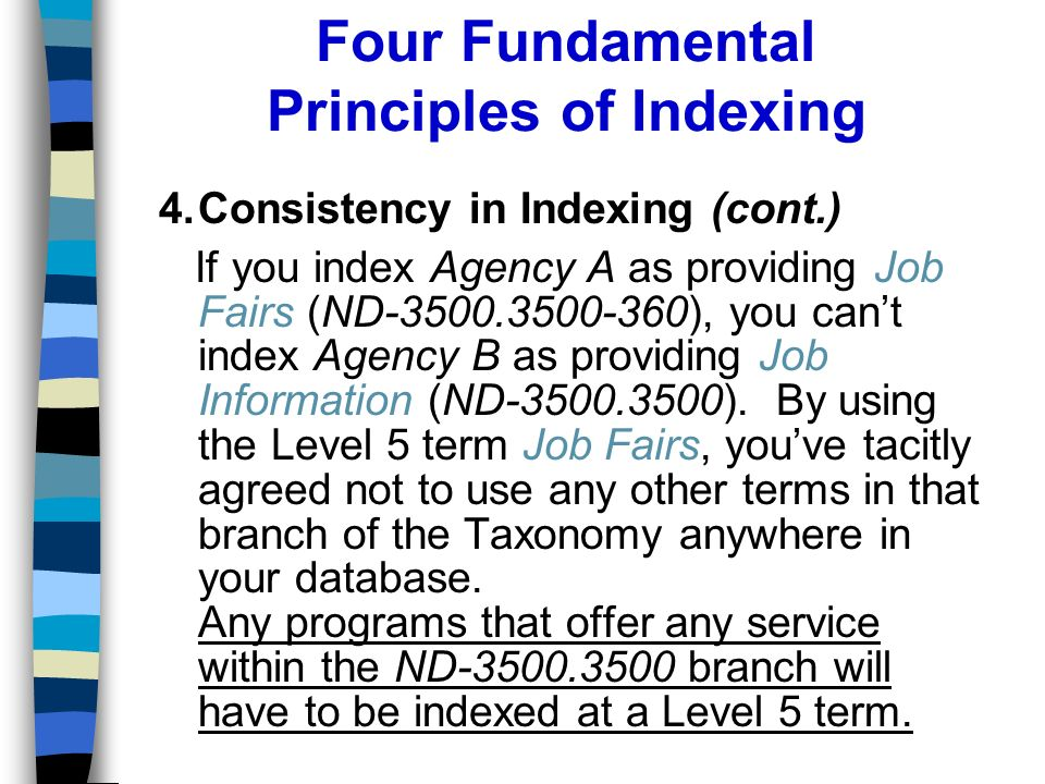 Four Fundamental Principles of Indexing 4.Consistency in Indexing (cont.) If you index Agency A as providing Job Fairs (ND-3500.3500-360), you cant index Agency B as providing Job Information (ND-3500.3500).