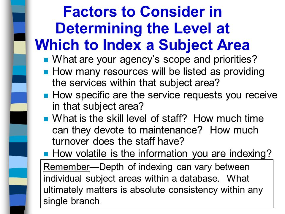 Factors to Consider in Determining the Level at Which to Index a Subject Area n What are your agencys scope and priorities.