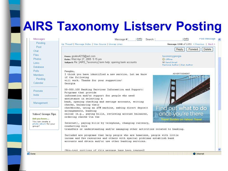 AIRS Taxonomy Listserv Posting