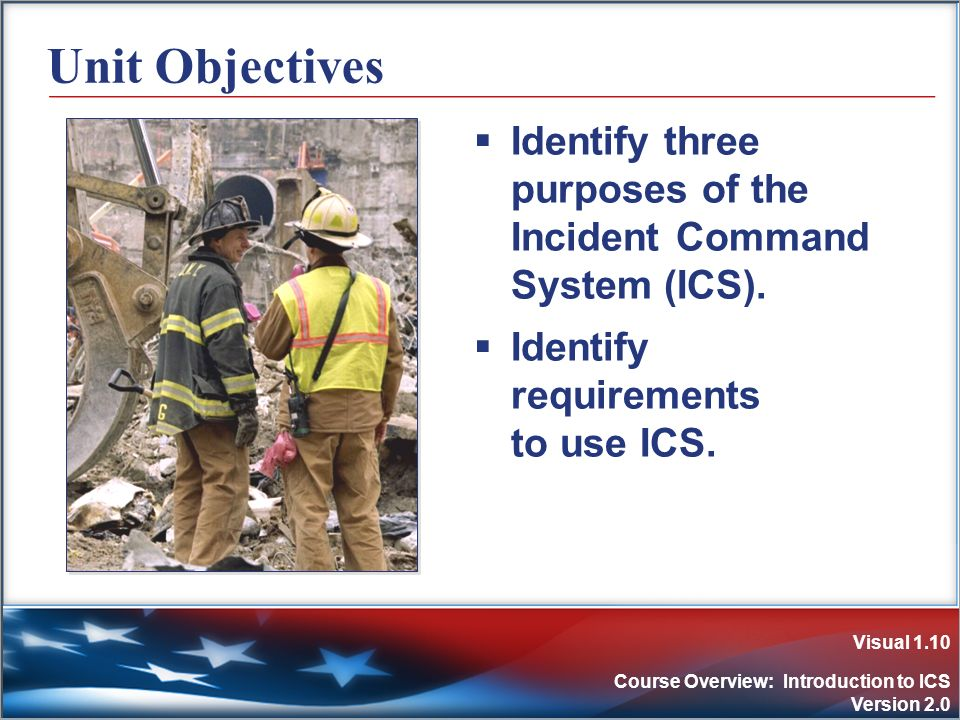 Visual 1.10 Course Overview: Introduction to ICS Version 2.0 Unit Objectives Identify three purposes of the Incident Command System (ICS). Identify re