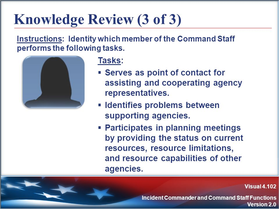 Visual 4.102 Incident Commander and Command Staff Functions Version 2.0 Knowledge Review (3 of 3) Instructions: Identity which member of the Command S