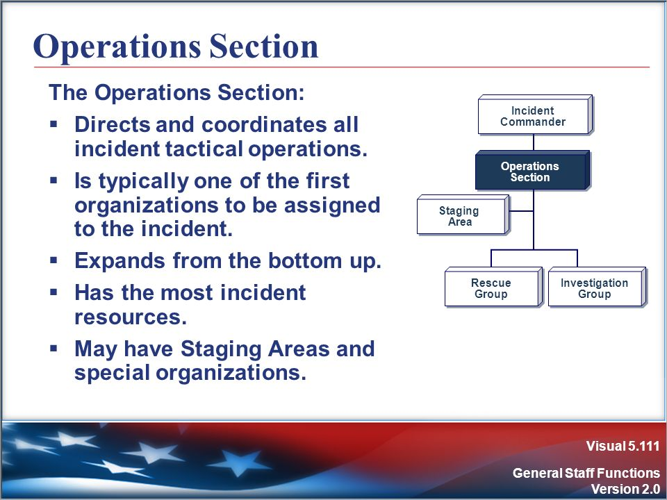 Visual 5.111 General Staff Functions Version 2.0 Operations Section The Operations Section: Directs and coordinates all incident tactical operations.