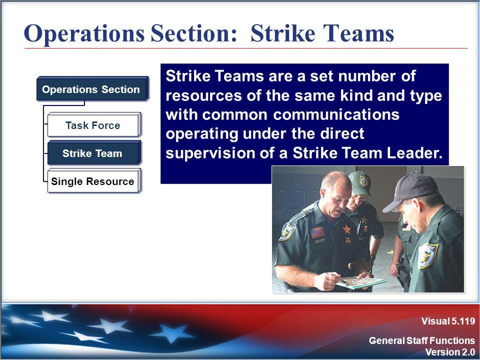 Visual 5.119 General Staff Functions Version 2.0 Operations Section: Strike Teams Task Force Strike Team Single Resource Operations Section Strike Tea