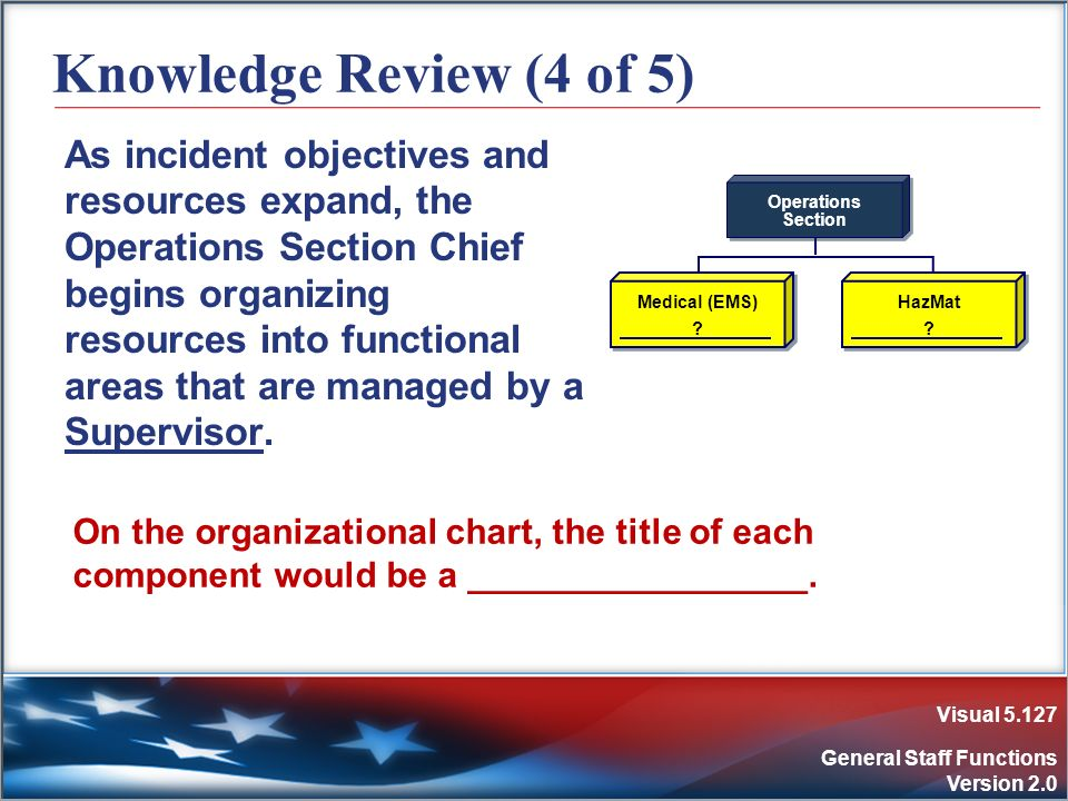 Visual 5.127 General Staff Functions Version 2.0 Knowledge Review (4 of 5) As incident objectives and resources expand, the Operations Section Chief b