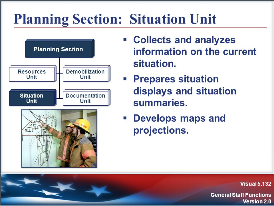Visual 5.132 General Staff Functions Version 2.0 Planning Section: Situation Unit Collects and analyzes information on the current situation. Prepares