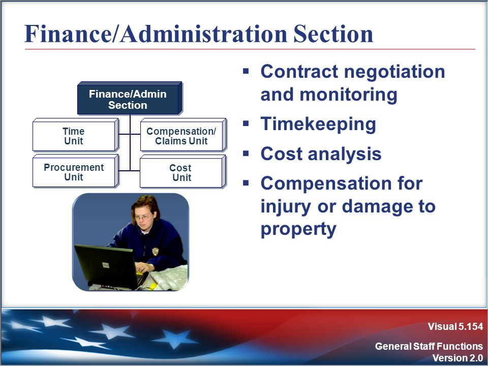 Visual 5.154 General Staff Functions Version 2.0 Finance/Administration Section Contract negotiation and monitoring Timekeeping Cost analysis Compensa