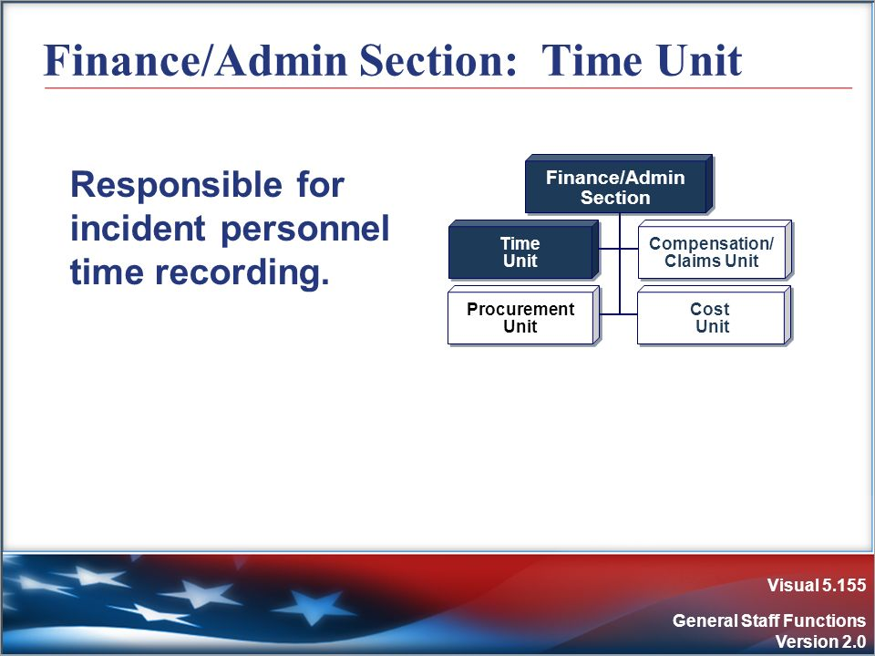Visual 5.155 General Staff Functions Version 2.0 Finance/Admin Section: Time Unit Responsible for incident personnel time recording. Finance/Admin Sec