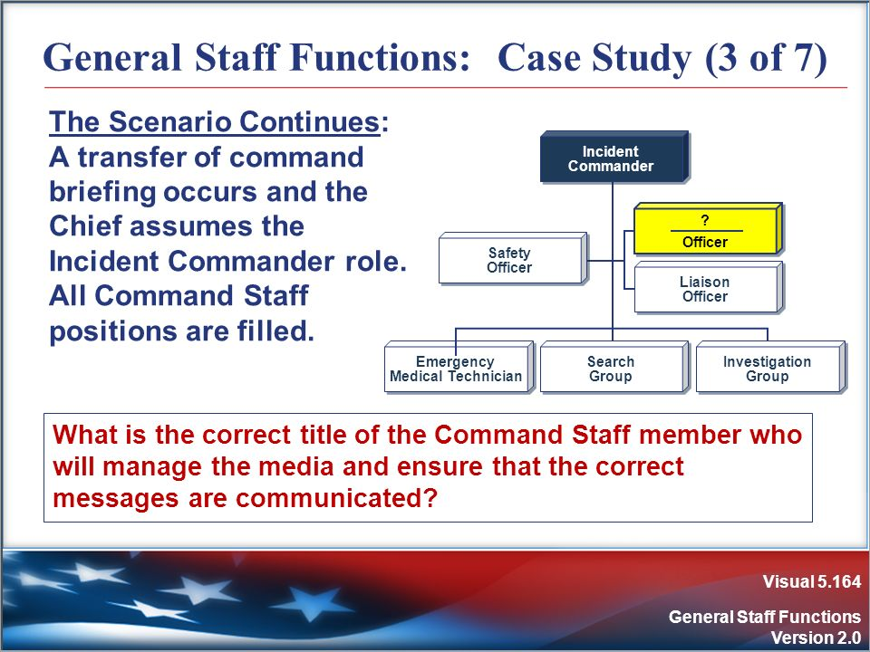 Visual 5.164 General Staff Functions Version 2.0 General Staff Functions: Case Study (3 of 7) The Scenario Continues: A transfer of command briefing o