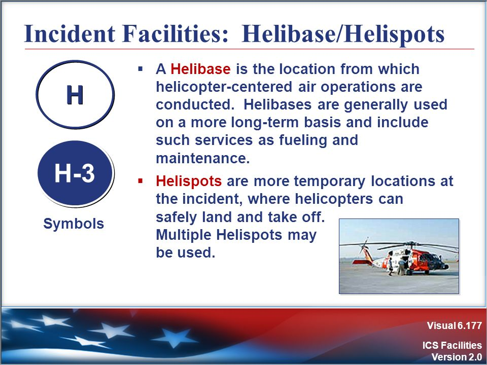 Visual 6.177 ICS Facilities Version 2.0 Incident Facilities: Helibase/Helispots A Helibase is the location from which helicopter-centered air operatio