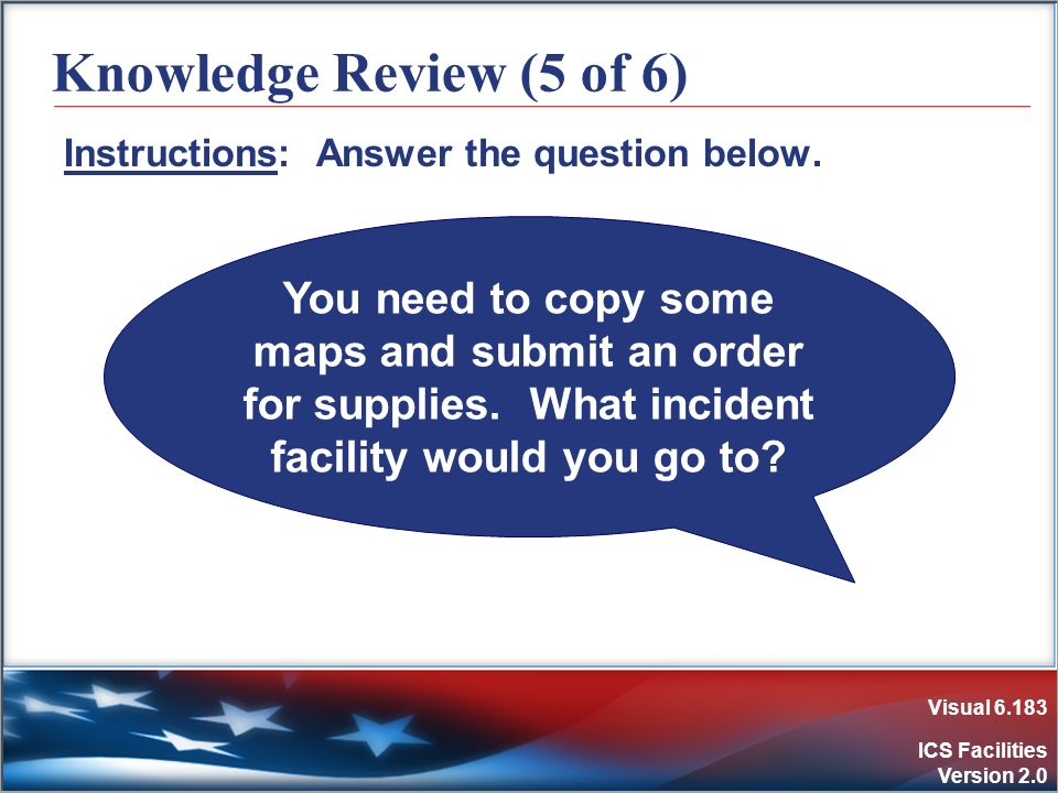 Visual 6.183 ICS Facilities Version 2.0 Knowledge Review (5 of 6) Instructions: Answer the question below. You need to copy some maps and submit an or