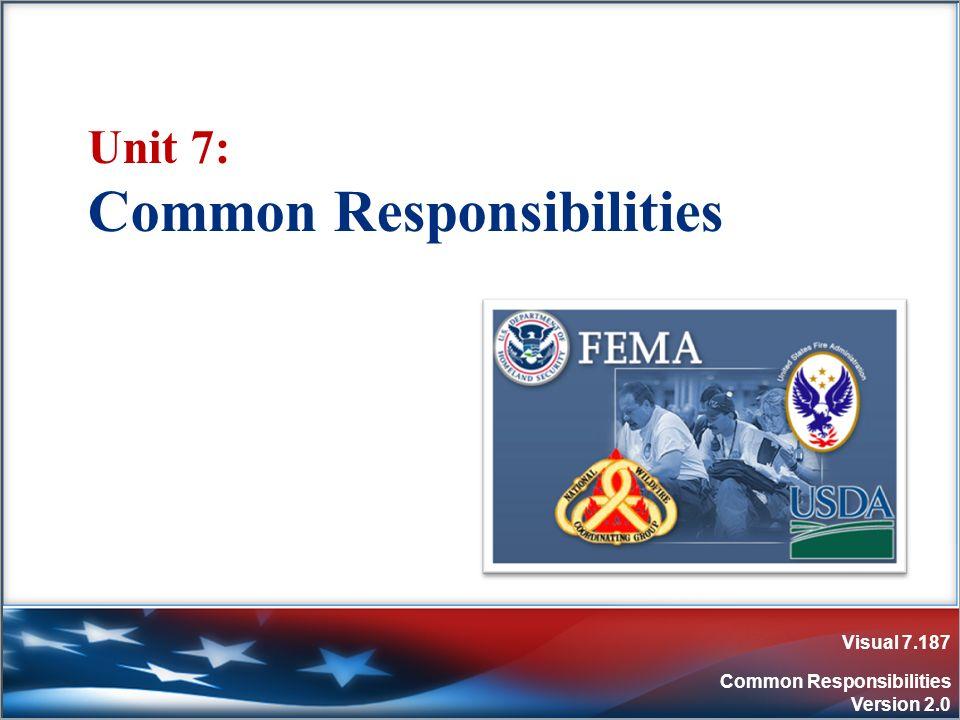 Visual 7.187 Common Responsibilities Version 2.0 Unit 7: Common Responsibilities