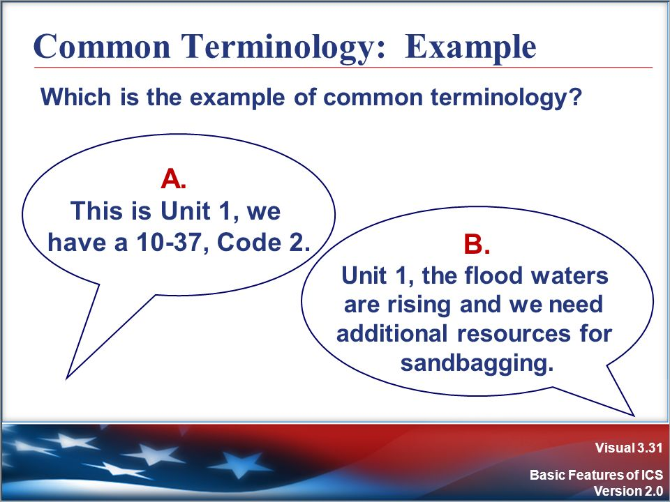 Visual 3.31 Basic Features of ICS Version 2.0 Which is the example of common terminology? Common Terminology: Example A. This is Unit 1, we have a 10-