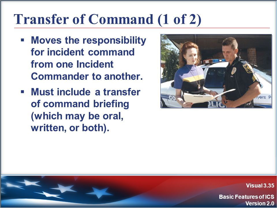 Visual 3.35 Basic Features of ICS Version 2.0 Transfer of Command (1 of 2) Moves the responsibility for incident command from one Incident Commander t