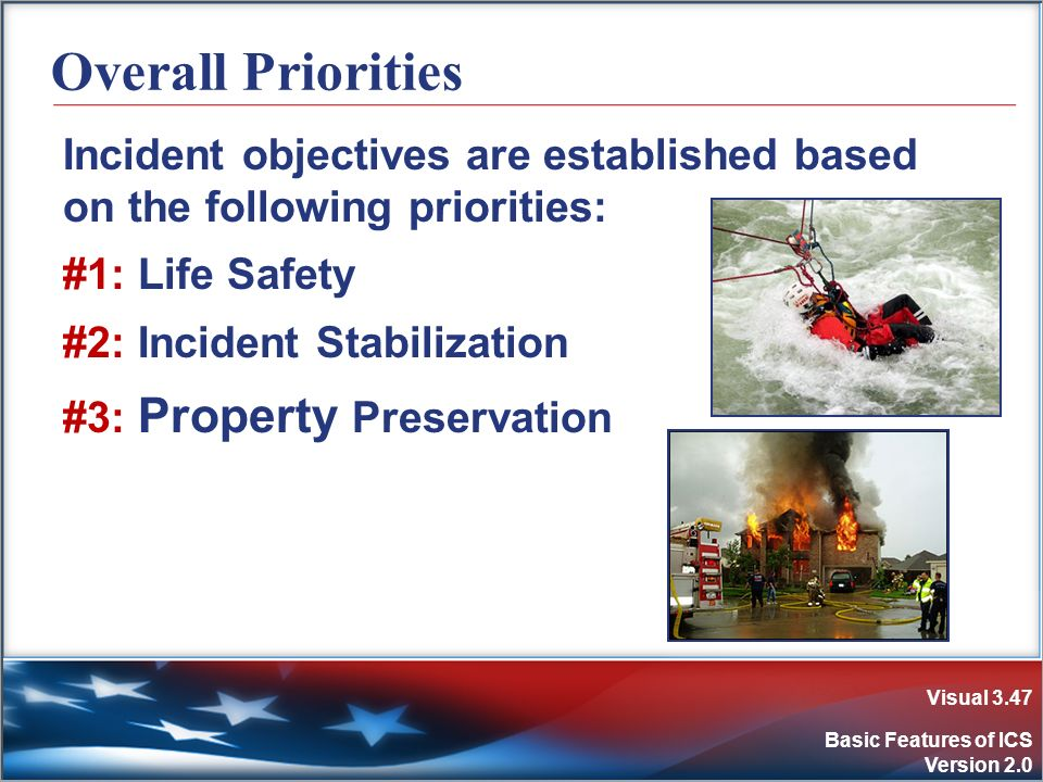 Visual 3.47 Basic Features of ICS Version 2.0 Overall Priorities Incident objectives are established based on the following priorities: #1: Life Safet