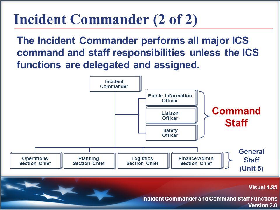 Visual 4.85 Incident Commander and Command Staff Functions Version 2.0 Incident Commander (2 of 2) The Incident Commander performs all major ICS comma