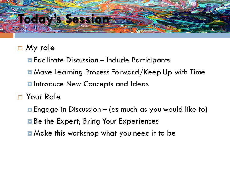 Todays Session My role Facilitate Discussion – Include Participants Move Learning Process Forward/Keep Up with Time Introduce New Concepts and Ideas Your Role Engage in Discussion – (as much as you would like to) Be the Expert; Bring Your Experiences Make this workshop what you need it to be