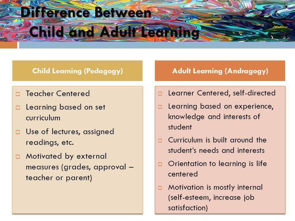 Difference Between Child and Adult Learning Learner Centered, self-directed Learning based on experience, knowledge and interests of student Curriculum is built around the students needs and interests Orientation to learning is life centered Motivation is mostly internal (self-esteem, increase job satisfaction) Learner Centered, self-directed Learning based on experience, knowledge and interests of student Curriculum is built around the students needs and interests Orientation to learning is life centered Motivation is mostly internal (self-esteem, increase job satisfaction) Teacher Centered Learning based on set curriculum Use of lectures, assigned readings, etc.