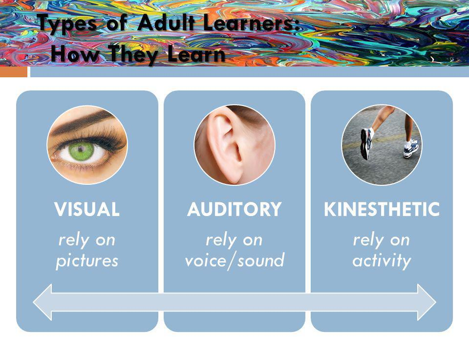Types of Adult Learners: How They Learn VISUAL rely on pictures AUDITORY rely on voice/sound KINESTHETIC rely on activity