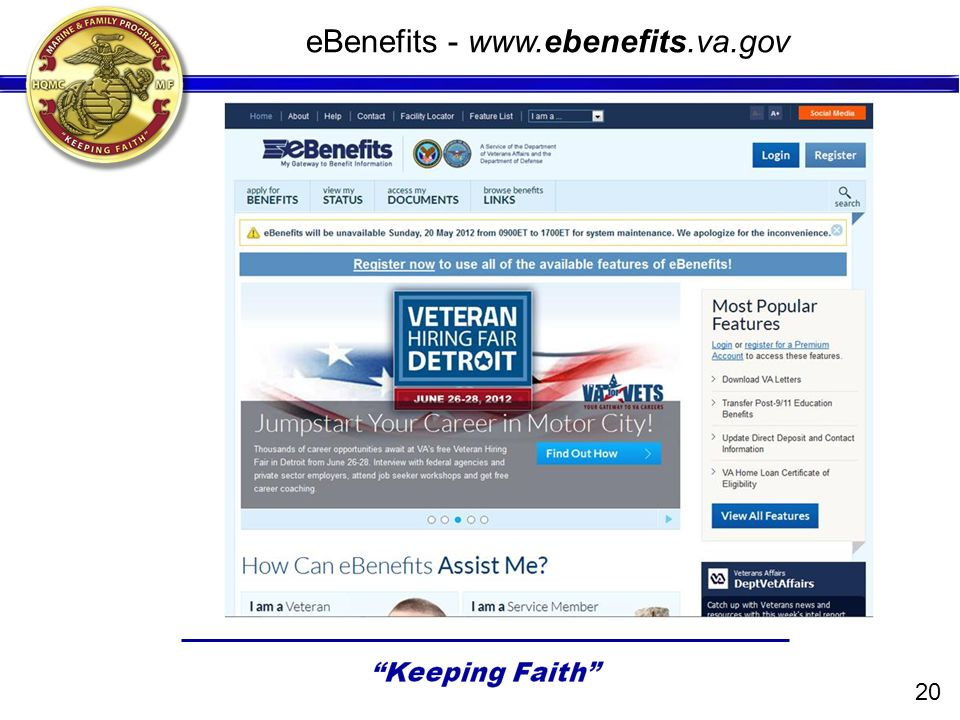 eBenefits - www.ebenefits.va.gov 20