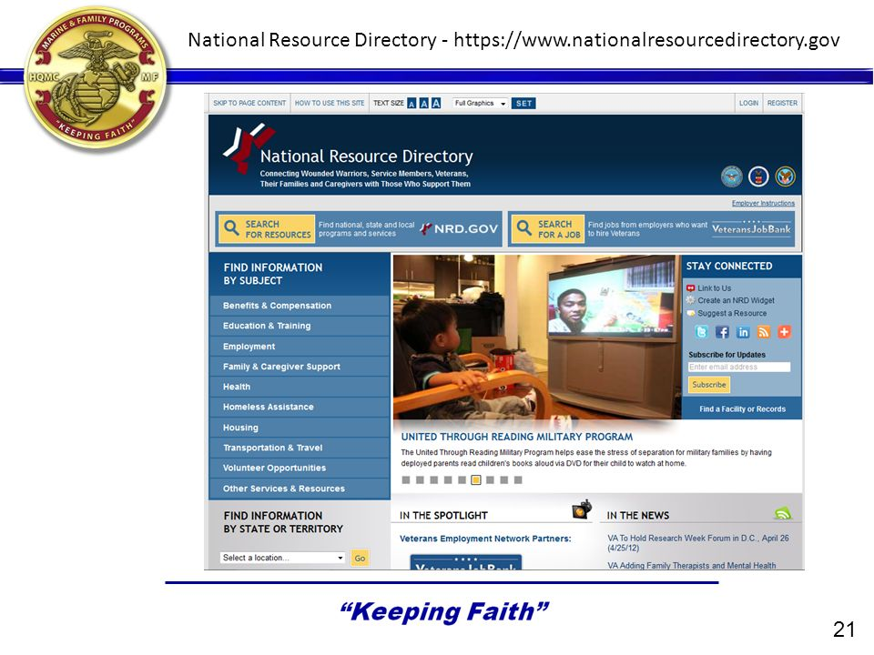 National Resource Directory - https://www.nationalresourcedirectory.gov 21