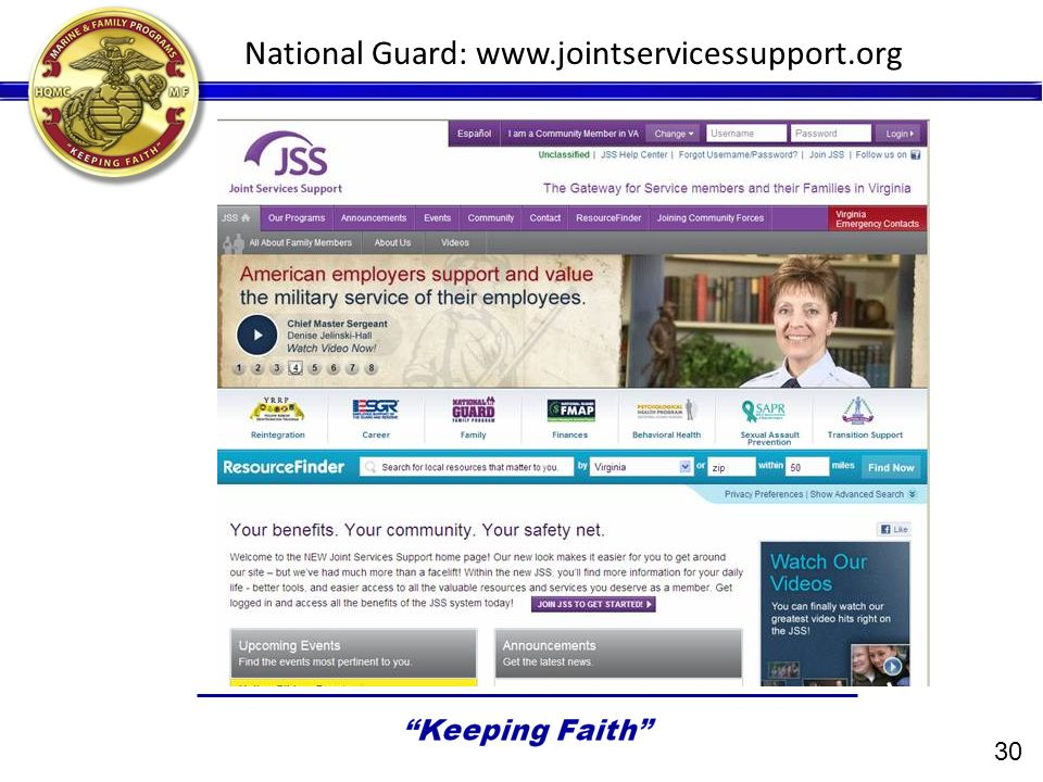 National Guard: www.jointservicessupport.org 30