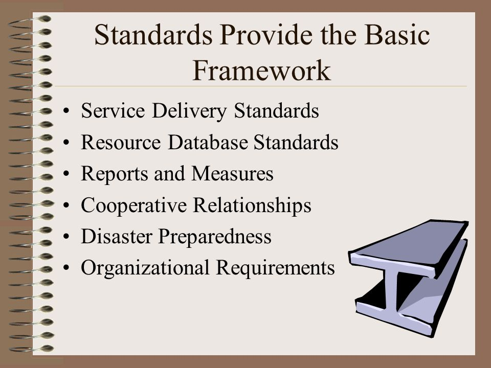 Standards Provide the Basic Framework Service Delivery Standards Resource Database Standards Reports and Measures Cooperative Relationships Disaster P