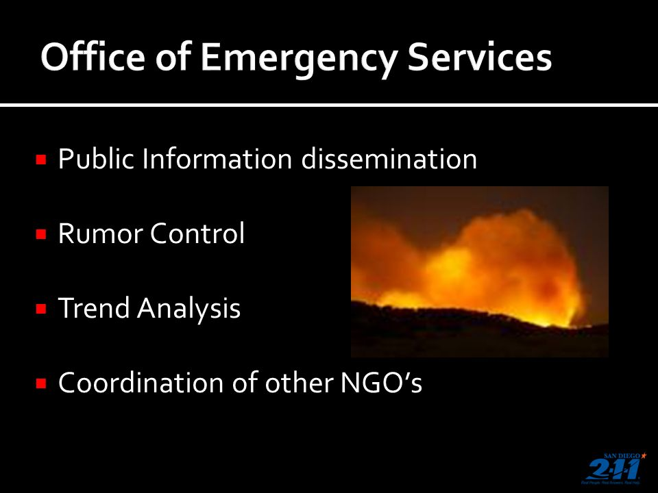 Public Information dissemination Rumor Control Trend Analysis Coordination of other NGOs
