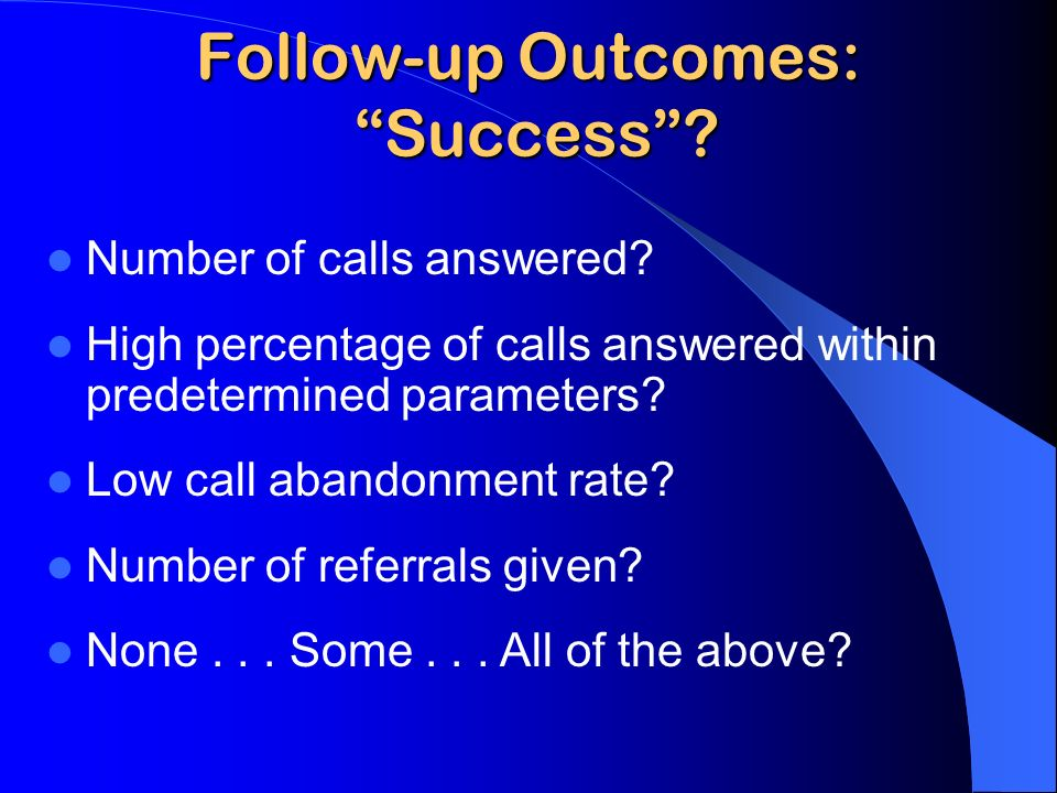 Follow-up Outcomes: Success. Number of calls answered.