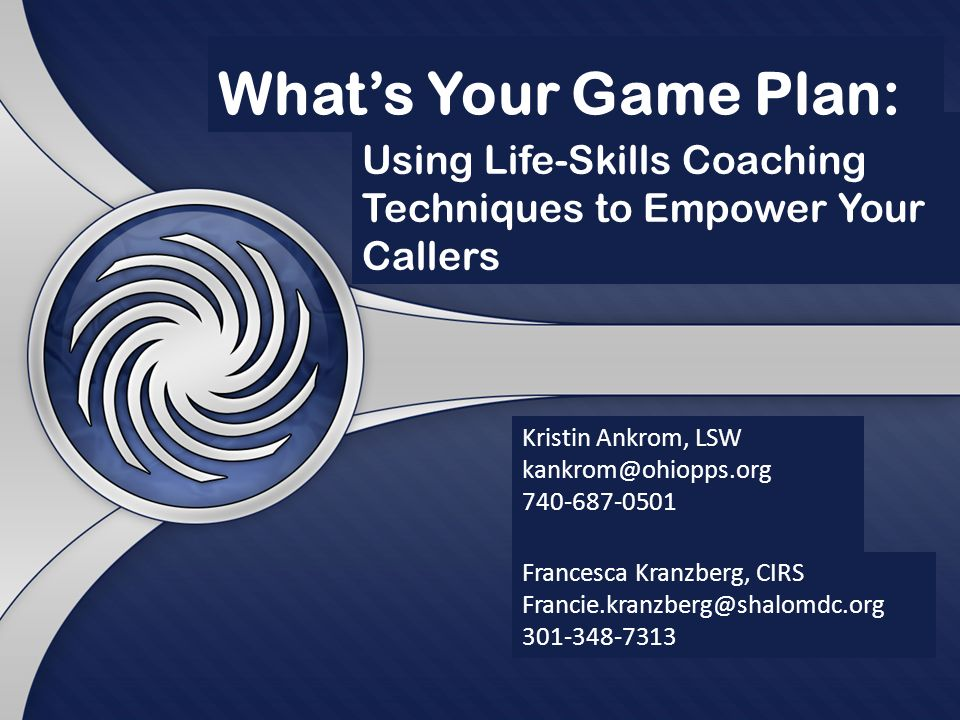 Whats Your Game Plan: Francesca Kranzberg, CIRS Kristin Ankrom, LSW