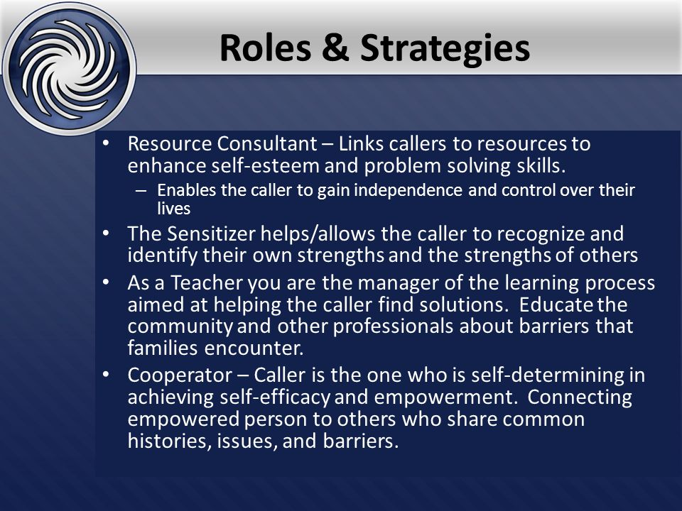 Roles & Strategies Resource Consultant – Links callers to resources to enhance self-esteem and problem solving skills.