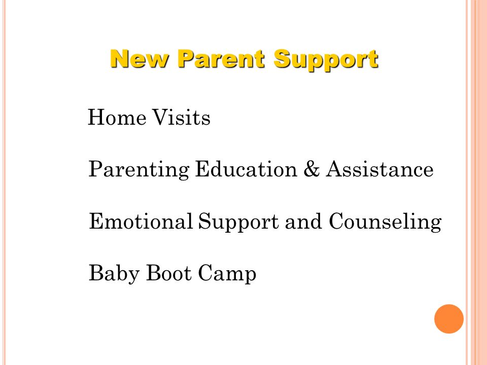 Home Visits Parenting Education & Assistance Emotional Support and Counseling Baby Boot Camp New Parent Support