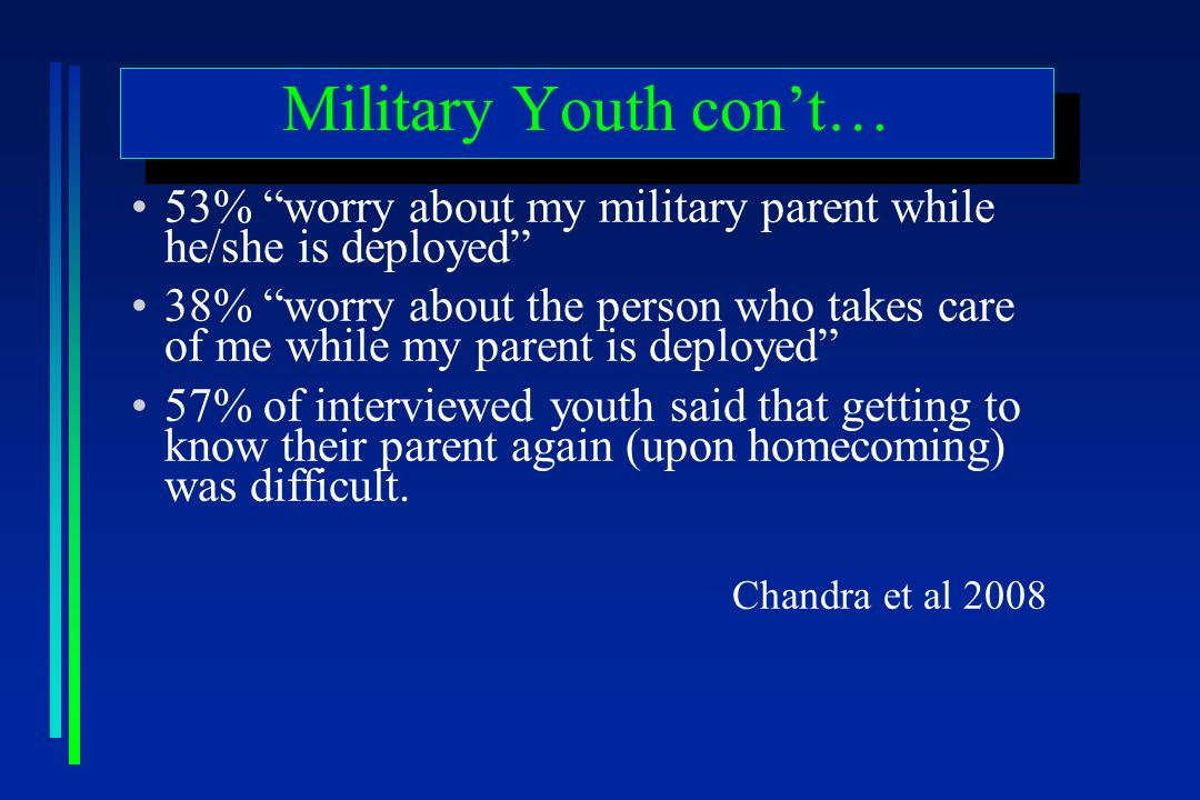 Military Youth cont… 53% worry about my military parent while he/she is deployed 38% worry about the person who takes care of me while my parent is deployed 57% of interviewed youth said that getting to know their parent again (upon homecoming) was difficult.