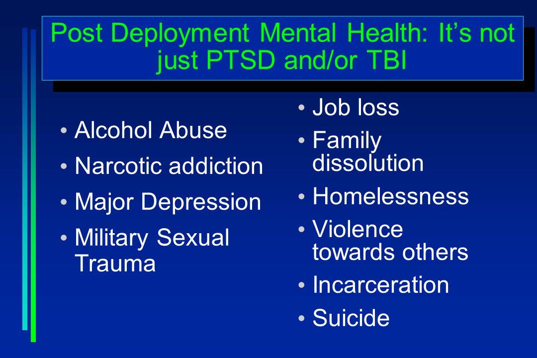 Alcohol Abuse Narcotic addiction Major Depression Military Sexual Trauma Job loss Family dissolution Homelessness Violence towards others Incarceratio