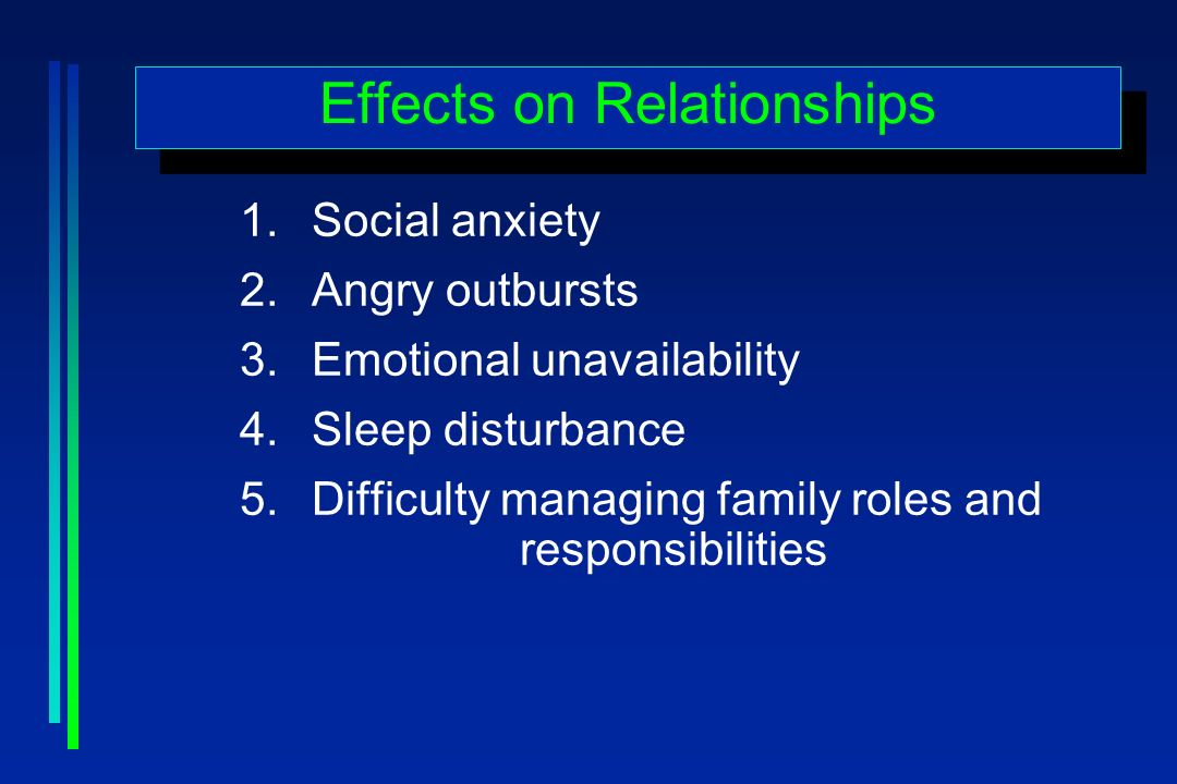 Effects on Relationships 1.Social anxiety 2.