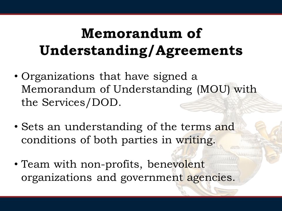 Question What is the agreement organizations sign to partner with the DOD/Military Services