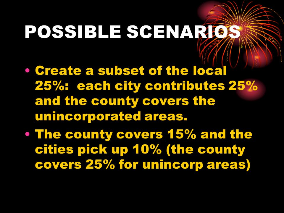 POSSIBLE SCENARIOS Create a subset of the local 25%: each city contributes 25% and the county covers the unincorporated areas.