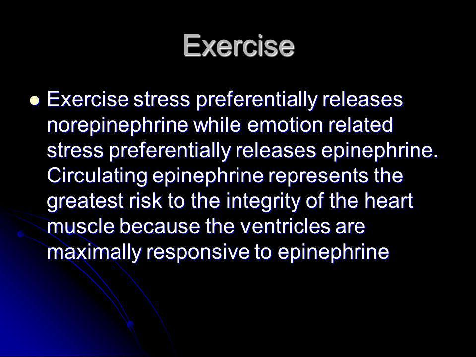 Exercise Exercise stress preferentially releases norepinephrine while emotion related stress preferentially releases epinephrine. Circulating epinephr