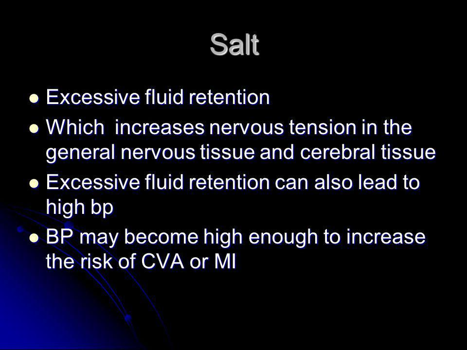 Salt Excessive fluid retention Excessive fluid retention Which increases nervous tension in the general nervous tissue and cerebral tissue Which incre
