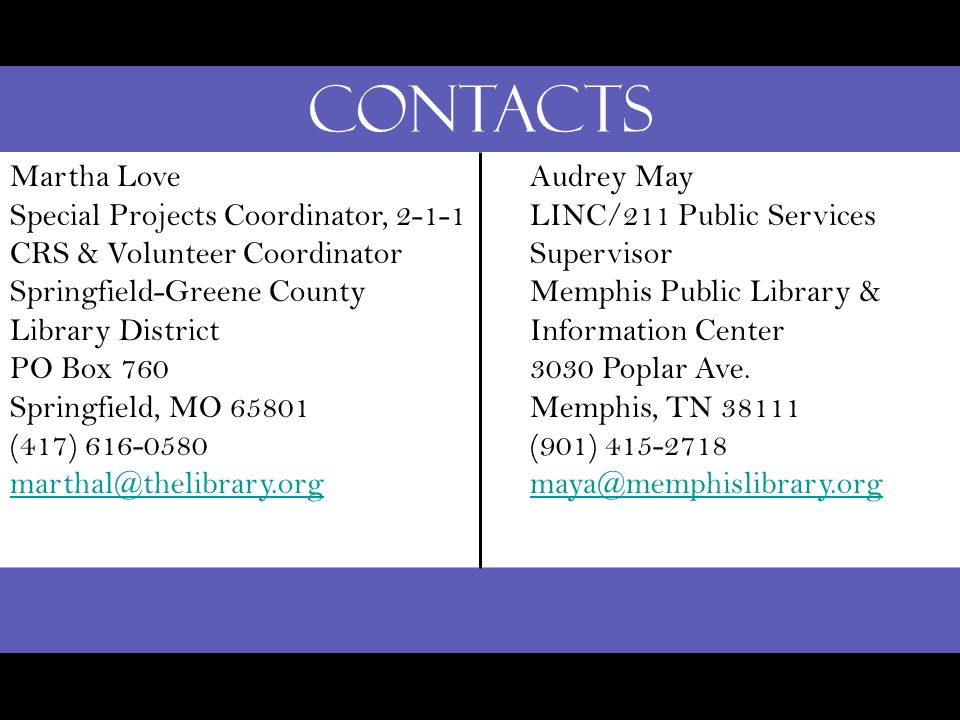 Contacts Martha Love Special Projects Coordinator, 2-1-1 CRS & Volunteer Coordinator Springfield-Greene County Library District PO Box 760 Springfield