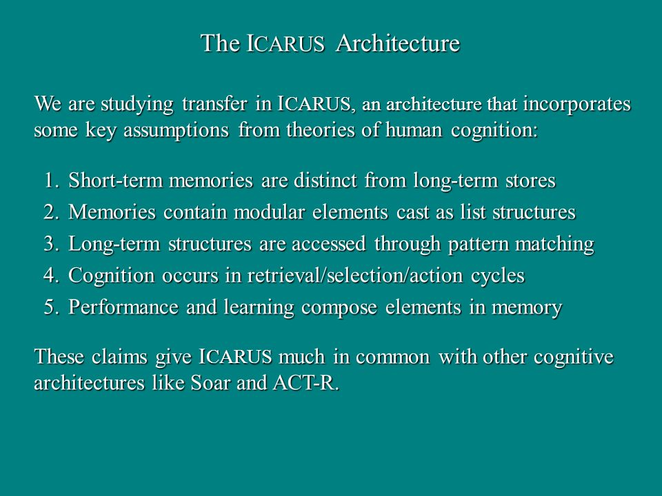 The I CARUS Architecture We are studying transfer in I CARUS, an architecture that incorporates some key assumptions from theories of human cognition: These claims give I CARUS much in common with other cognitive architectures like Soar and ACT-R.