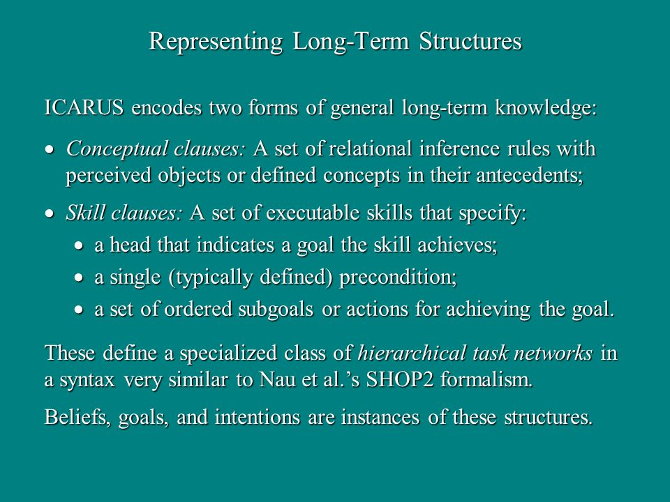 Representing Long-Term Structures Conceptual clauses: A set of relational inference rules with perceived objects or defined concepts in their antecede