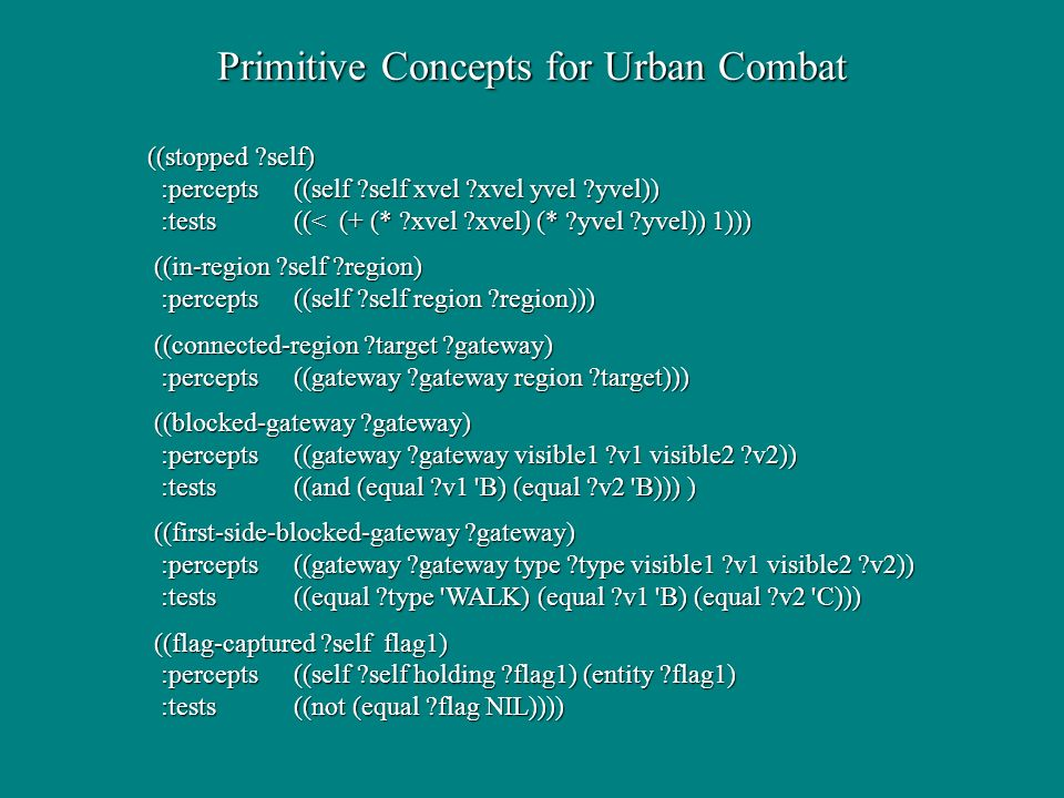 Primitive Concepts for Urban Combat ((stopped self) :percepts((self self xvel xvel yvel yvel)) :percepts((self self xvel xvel yvel yvel)) :tests ((< (+ (* xvel xvel) (* yvel yvel)) 1))) :tests ((< (+ (* xvel xvel) (* yvel yvel)) 1))) ((in-region self region) ((in-region self region) :percepts((self self region region))) :percepts((self self region region))) ((connected-region target gateway) ((connected-region target gateway) :percepts ((gateway gateway region target))) :percepts ((gateway gateway region target))) ((blocked-gateway gateway) ((blocked-gateway gateway) :percepts((gateway gateway visible1 v1 visible2 v2)) :percepts((gateway gateway visible1 v1 visible2 v2)) :tests((and (equal v1 B) (equal v2 B))) ) :tests((and (equal v1 B) (equal v2 B))) ) ((first-side-blocked-gateway gateway) ((first-side-blocked-gateway gateway) :percepts((gateway gateway type type visible1 v1 visible2 v2)) :percepts((gateway gateway type type visible1 v1 visible2 v2)) :tests ((equal type WALK) (equal v1 B) (equal v2 C))) :tests ((equal type WALK) (equal v1 B) (equal v2 C))) ((flag-captured self flag1) ((flag-captured self flag1) :percepts ((self self holding flag1) (entity flag1) :percepts ((self self holding flag1) (entity flag1) :tests ((not (equal flag NIL)))) :tests ((not (equal flag NIL))))