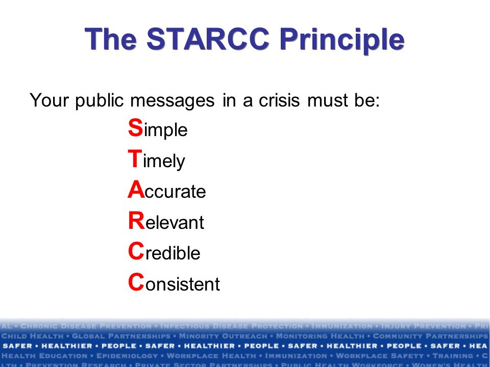 The STARCC Principle Your public messages in a crisis must be: S imple T imely A ccurate R elevant C redible C onsistent