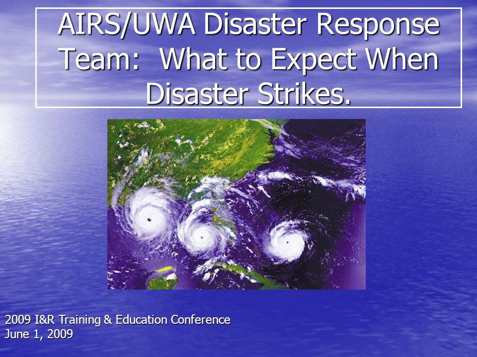 To increase the capacity of the Information and Referral field to respond to Disasters.