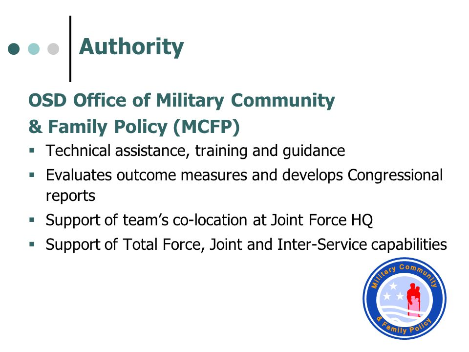 Authority OSD Office of Military Community & Family Policy (MCFP) Technical assistance, training and guidance Evaluates outcome measures and develops