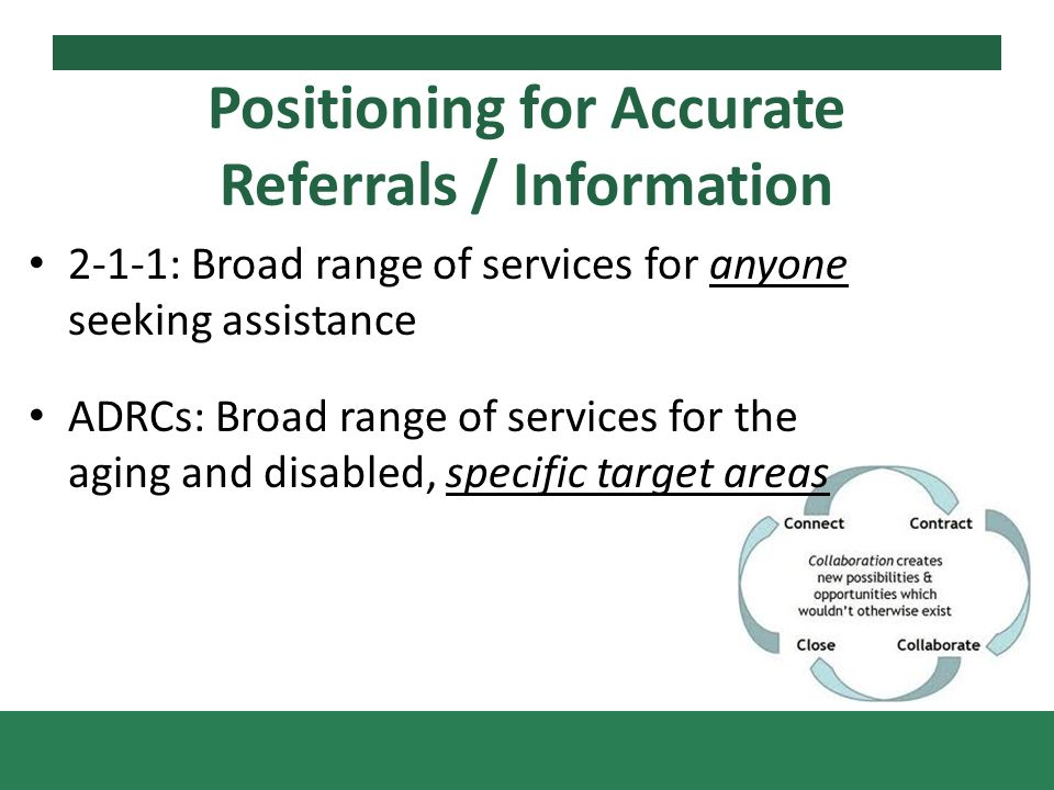 2-1-1: Broad range of services for anyone seeking assistance ADRCs: Broad range of services for the aging and disabled, specific target areas Positioning for Accurate Referrals / Information