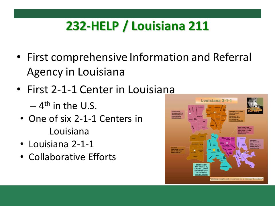 232-HELP / Louisiana 211 First comprehensive Information and Referral Agency in Louisiana First 2-1-1 Center in Louisiana – 4 th in the U.S.