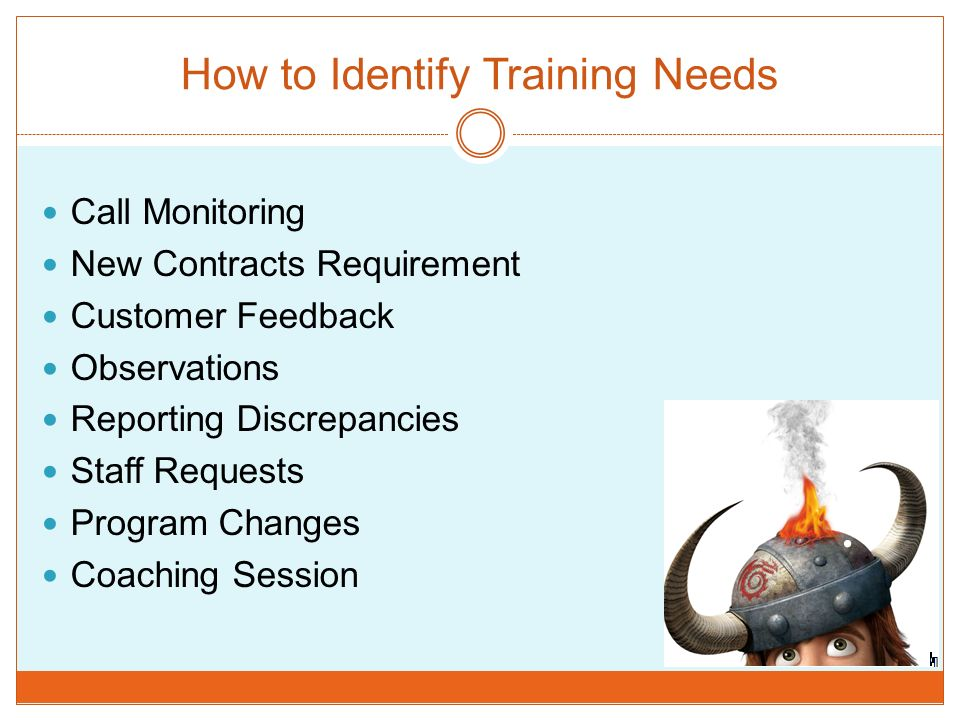 How to Identify Training Needs Call Monitoring New Contracts Requirement Customer Feedback Observations Reporting Discrepancies Staff Requests Program Changes Coaching Session